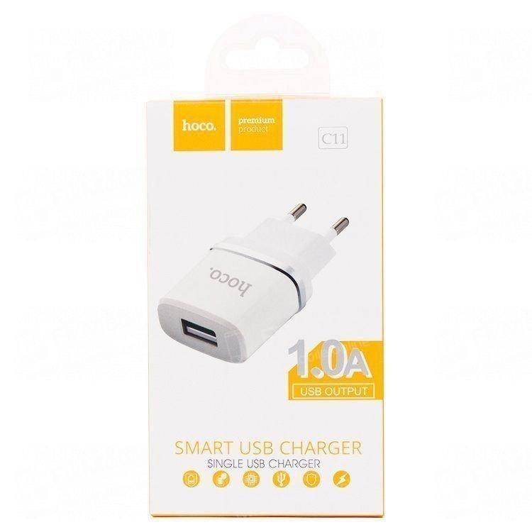 Сетевой зарядное устройство HOCO C11 1A USB (белое)